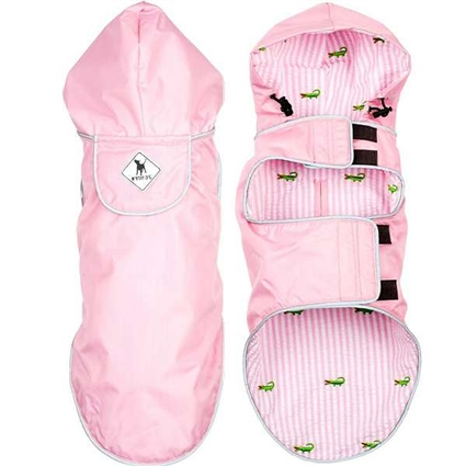 Preppy Pink Dog Raincoat with Hood