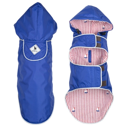Preppy Blue Dog Raincoat with Hood