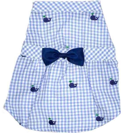 Blue Whales Seersucker Dog Dress