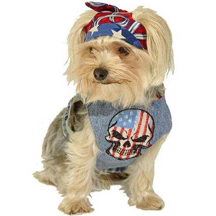 Denim Dog Harness Vest | Red, White and Blue Skull