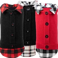 Cardigan Dog Sweater with Flannel Shirt Trim
