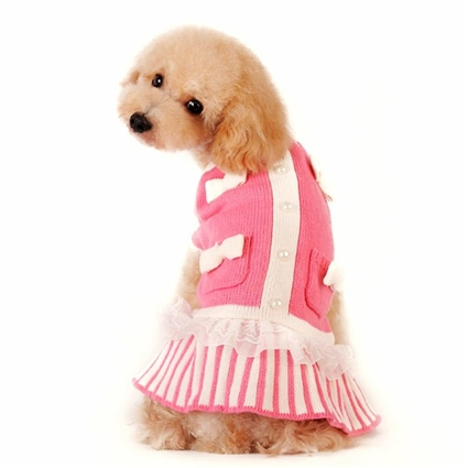 Pink Lady Small Dog Sweater Dress