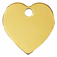 Brass Heart Pet ID Tags