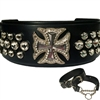 Maltese Cross Bling Leather Large Dog Collar | or Martingale