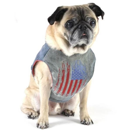 American Flag Denim Dog Harness
