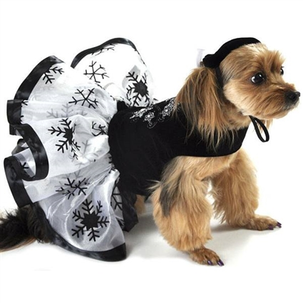 Velveteen Snowflake Designer Dog Dress