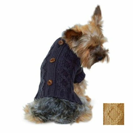 Button Cashmere Wool Cable Knit Dog Sweater