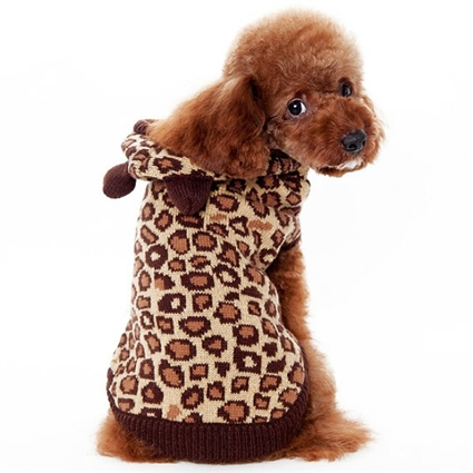 Leopard Print Dog Sweater with Hood