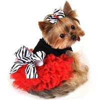 Zebra Ruffle Designer Dog Dress