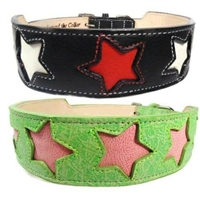 Oh My Stars Tapered Leather Dog Collar