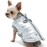 Metallic Silver Dog Coat