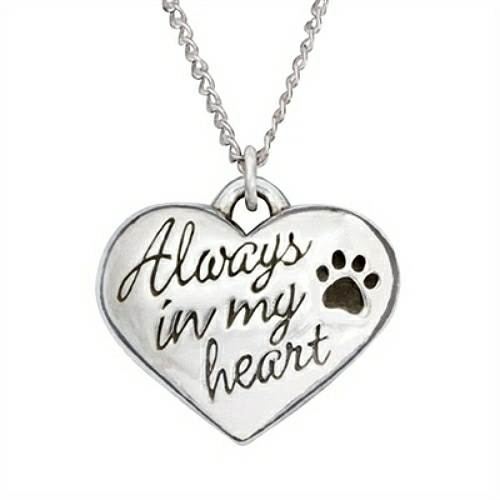 Sterling Silver Heart Dog Cat Pet Memorial Necklace