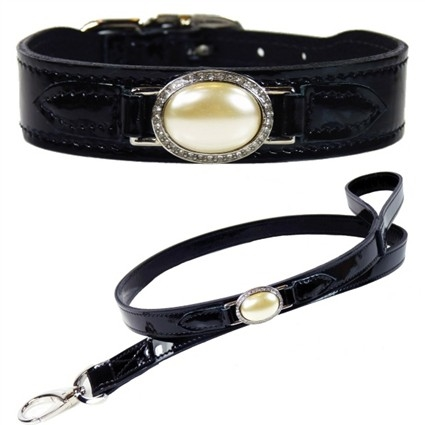 Estate Black Patent Leather Designer Dog Collar
