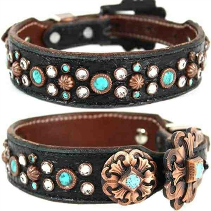 Black Western Leather Large Dog Collar | Sarge