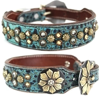 Turquoise Western Leather Dog Collar | Remi