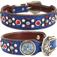 Blue Western Leather Dog Collar | Marley