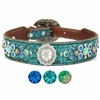 Turquoise Western Leather Designer Dog Collar