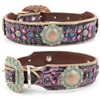 Purple Western Leather Dog Collar