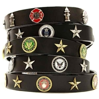 Service Emblem Leather Dog Collar
