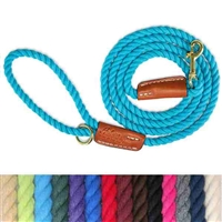 Rope Dog Leash with Leather  | 6 ft.