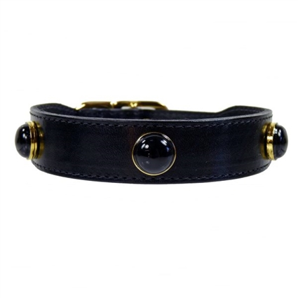 Black Onyx  Gemstone Leather Dog Collars