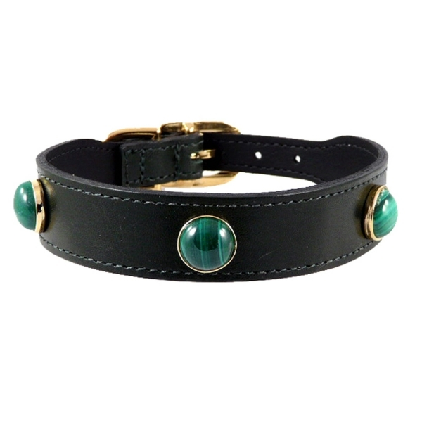 5ce6f5f2a4baf Malachite Gemstone Leather Dog Collar