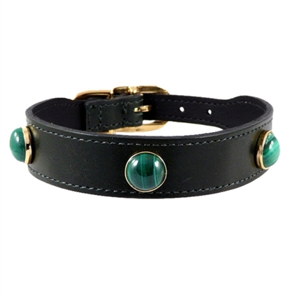 Malachite Gems Leather Designer Dog Collar