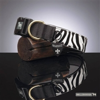 Vegan Leather Dog Collar | Zebra Print Synthetic Leather