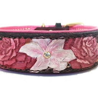 Pink Flowers Leather Dog Collar | Hand Tooled