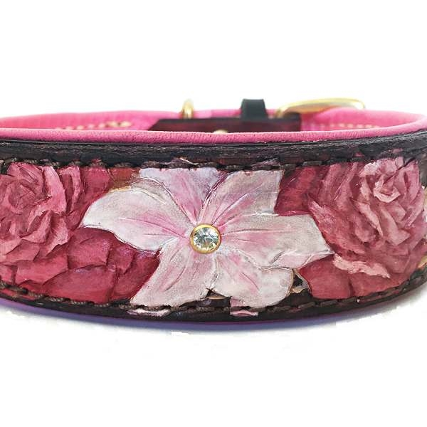 Pink Flowers Leather Dog Collar Hand Tooled