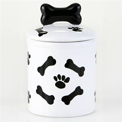 Black and White Ceramic Dog Treat Jar