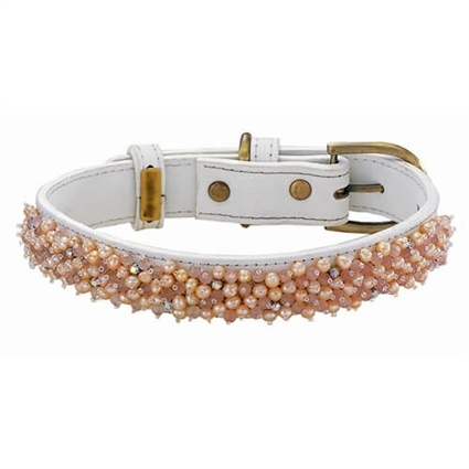 Freshwater Pearl and Rose Quartz Leather Dog Collar