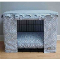 Blue Trellis Canvas Dog Crate Cage Cover