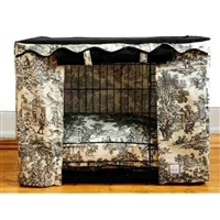 Toile Black and Cream Canvas Dog Crate Cage Cover