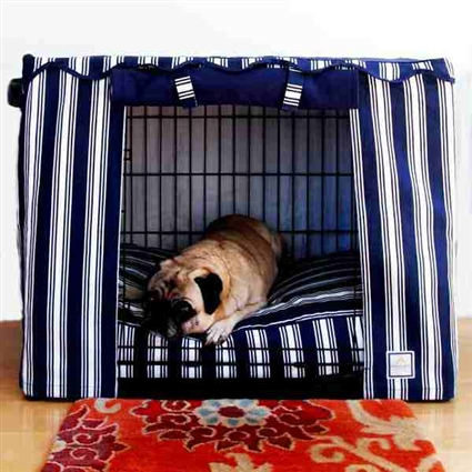 Dog Crate Cage Cover in Nautical Navy Blue Stripes
