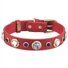 Rhinestones and Sodalite Leather Dog Collar