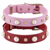 Leather Dog Collars | Leather Cat Collar | Glass Pearl Gemstones