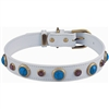 Turquoise and Cats Eye Leather Dog Collar