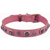 Pink Cat's Eye Leather Dog Collar