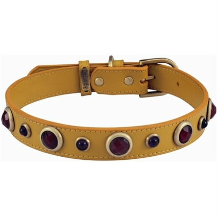 Carnelian and Purple Glass Leather Dog Collar