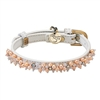 Pearl and Quartz Leather Small Dog Cat Collar