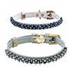 Hematite Small Dog Cat Leather Collar