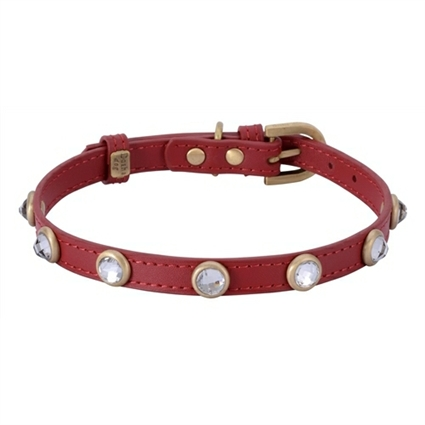Rhinestone Bling Red Leather Dog Collar