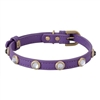 Rhinestone Bling Purple Leather Dog Cat Collar