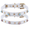 White Leather Dog Cat Collars with Glass Gemstone