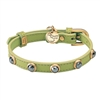 Green Leather Dog Collar | Cat Collar | Hematite Gemstones