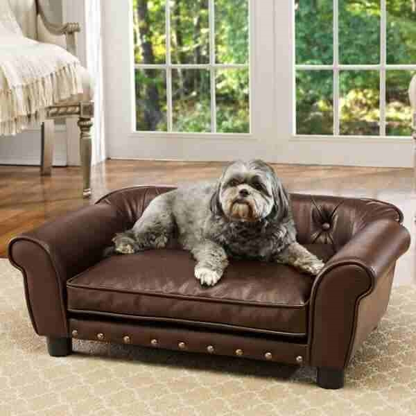 A Tufted Pebble Grain Faux Leather Sofa For Dogs Featuring Br Tone Nailheadade With Furniture Grade Construction Pets Up To 30 Lbs