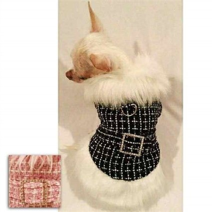Pink Tweed Designer Dog Coat for Small Dogs