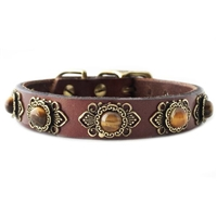 Leather Small Dog Collars with Tiger Eye Gemstones