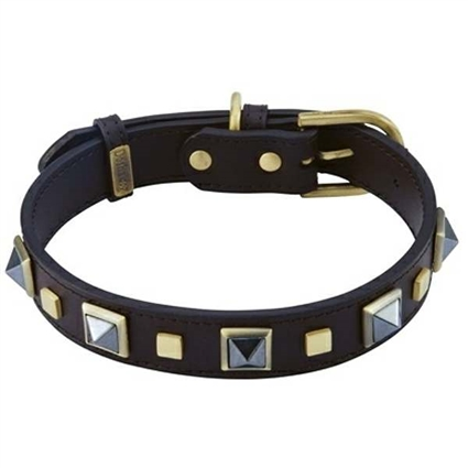 Studded Leather Dog Collar with Hematite Gemstones